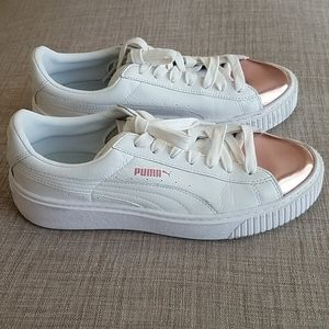 Puma White Leather and Rose Gold Platform Sneakers